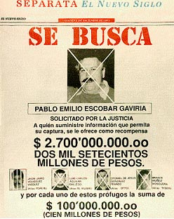"A ""WANTED"" poster of Escobar"
