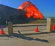 Security camera image of the moment that the Pentagon was hit on 9/11