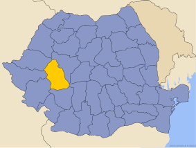 Administrative map of  with Hunedoara county highlighted