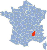 Location of Ardèche in France