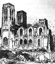 Scott's original design for Liverpool Cathedral, with twin towers