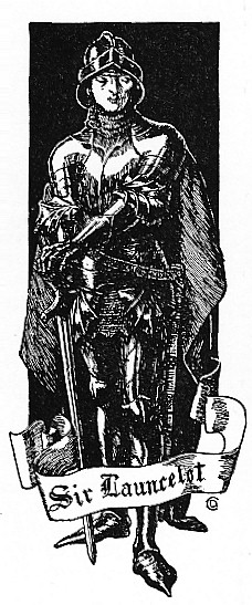 Sir Lancelot, standing in armor with a cape and with visor up, leaning on his sword