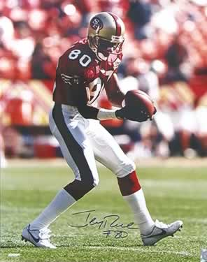 Jerry Rice, after scoring one of his many touchdowns with the 49ers.