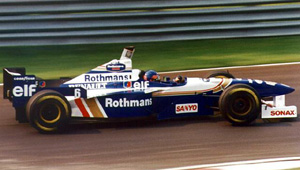 Jacques Villeneuve driving for the  Formula One team at the 1996