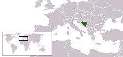Map showing the location of Bosnia and Herzegovina
