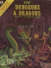 The D&D Basic Set features cover artwork by , showcasing his distinctive style.  The painting features many elements of the  game, including a magic-user, a fighter, a -like  and a  underground expanding into the gloom.