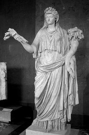 A cult statue of Livia represented as , with sheaf of wheat and , 1st century AD ()