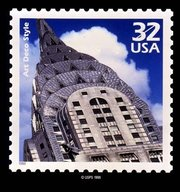 The Art Deco spire of the  commemorated on a US stamp