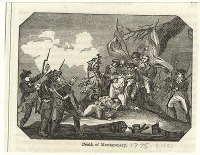 An engraving depicting the death of General Montgomery at the .