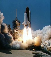 The Space Shuttle Columbia seconds after engine ignition, 1981 (NASA)