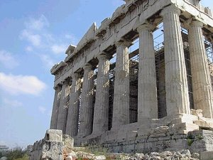 The western face of the Parthenon remains relatively intact.