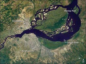 Image of Kinshasa and Brazzaville, taken by NASA