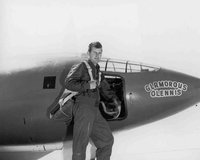 "Yeager with Bell X-1, which - as with all of the aircraft assigned to him - he named ""Glamorous Glennis"" after his wife"