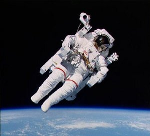 U.S. Space Shuttle astronaut  using a manned maneuvering unit. Picture courtesy NASA