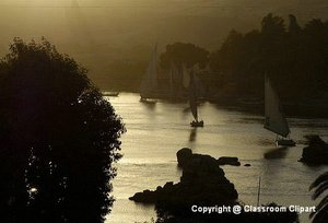 Sunset along the Nile River, Aswan Egypt. Image provided by Classroom Clip Art (http://classroomclipart.com)