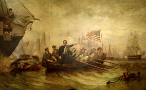 """We have met the enemy and they are ours.""  in the . (Painting by William H. Powell, 1865)"