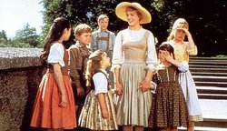 Julie Andrews as Maria, with the Von Trapp children in The Sound of Music.
