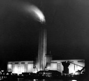 Night view of Bankside Power Station, circa 1965