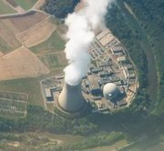 Nuclear power station at , . The nuclear reactor is inside the dome-shaped containment building.