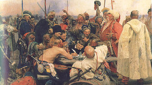 The Reply of the Zaporozhian Cossacks to Sultan  of Turkey. Painted by  from 1880 to 1891.