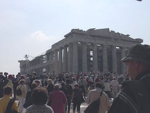 Crowds of tourists surround the Parthenon nearly every day.