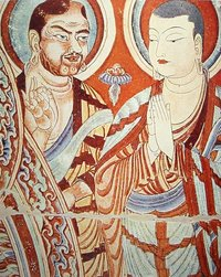 Blue-eyed  (Tocharian?) and East-Asian Buddhist monks, Bezaklik, Eastern , 9th-10th century.