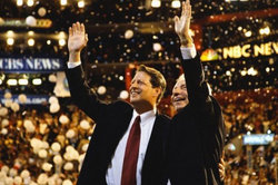 Al Gore and Joe Lieberman at the 2000 Democratic National Convention.