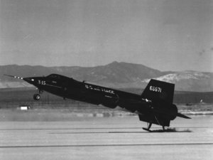 X-15 touching down on its skids. Compare ventral fin with flight picture above.