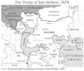 Borders of Bulgaria according to the Treaty of San Stefano of March 3rd, 1878