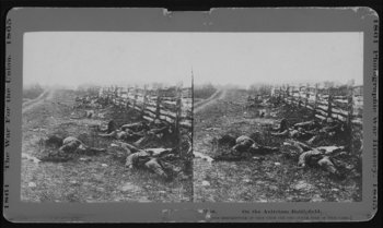 Dead soldiers lie where they fell on the field at Antietam