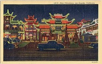 """New Chinatown,"" Los Angeles postcard, late 1940s"
