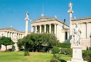 The Academy, designed by  and completed in 1885, is flanked by the National Library and the University of Athens. Known as the 'trilogy', these three neoclassical buildings are considered the finest examples of the Greek architectural order.