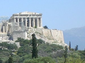The Parthenon seen from the hill of the Pnyx to the west