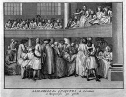 A female Quaker preaches at a meeting in London in the 18th century