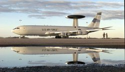 US Air Force E-3 Sentry AWACS aircraft is prepared for flight in November 1997
