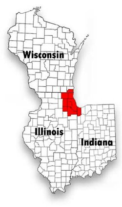 The Chicagoland region is colored red.
