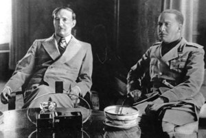 Ciano (right) with Albanian King Zog, 1937