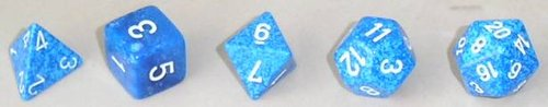 The use of , like this set of dice (in order d4, d6, d8, d12, d20), is an integral part of the D&D experience