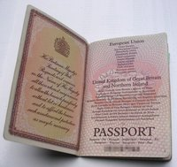 The title page of  passports bears the name European Union, then the name of the issuing country, in the languages of all EU countries. Here is a British passport.
