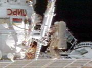 Astronaut Michael Foale on a construction EVA outside the ISS in February 2004