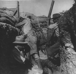 Australian  using a periscope rifle, Gallipoli 1915