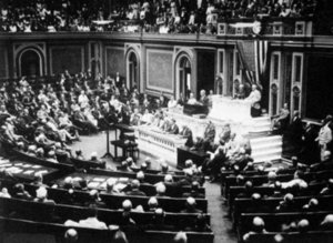 President Woodrow Wilson of the United States announces to Congress the breaking of diplomatic relations with Germany